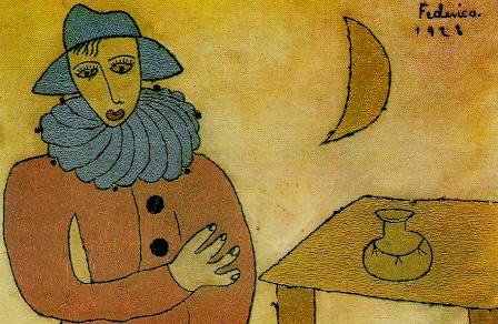 Federico Garcia Lorca, dibujo de arlequín con luna